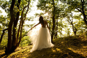 Rear view of young woman in forest wearing tulle skirt