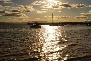 美しい太陽が沈むタウランガのビーチ