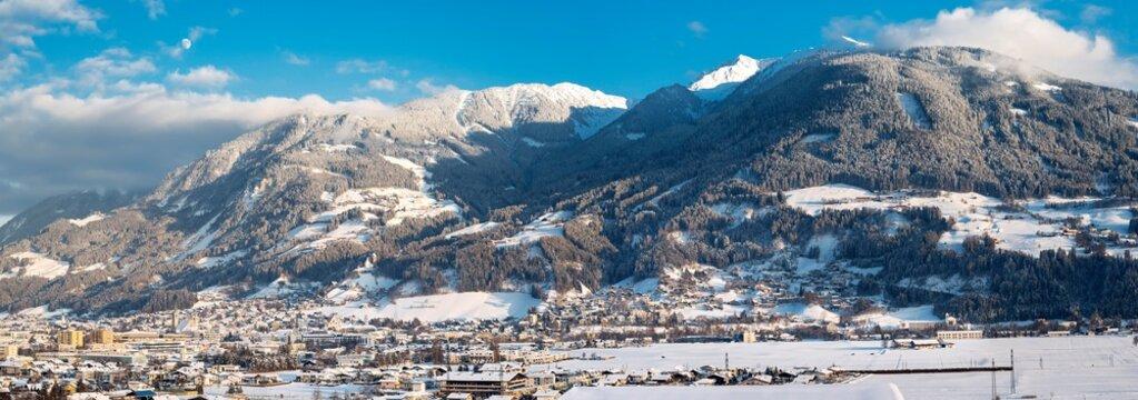 View of Schwaz, Winter, at back Kellerjoch and Arbeser, Tyrol, Austria, Europe