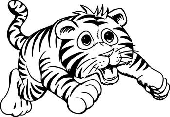 Tiger Cub Cartoon Vector Illustration