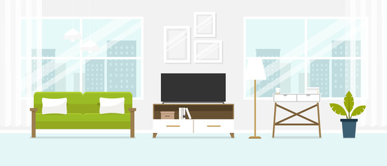 Interior of the living room. Design of a cozy room with sofa, TV stand, window and decor accessories.