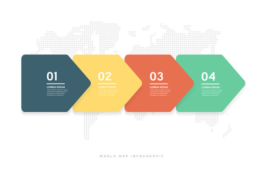Abstract minimal arrows design with world map background infographic template.