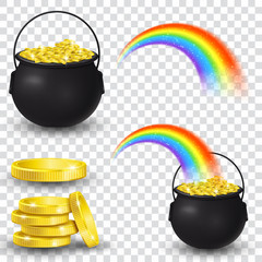 Cauldron full of gold coins and rainbow