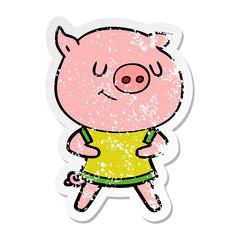distressed sticker of a happy cartoon pig