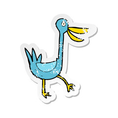 retro distressed sticker of a funny cartoon duck
