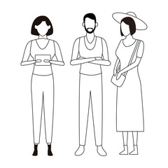 casual people cartoon in black and white