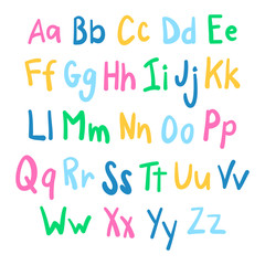 Funky English alphabet in hand drawn style.