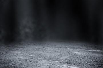 Fototapeta Empty surface of ground pattern with black backdrop wallpaper. obraz