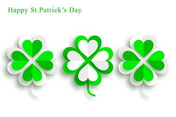 Four Leaf Clover,St.Patrick's Day,Green Background, Design Element,