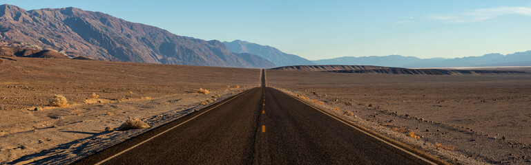 Panoramic view of a scenic road in the Death Valley National Park. Taken in California, United States of America.
