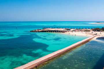 Landscape view of the waters outside of Fort Jefferson in Dry Tortugas National Park (Florida).