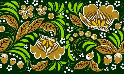 Russian folk pattern on green background. seamless pattern. Khokhloma