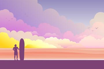 a man with surfboard on the beach.