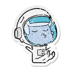distressed sticker of a cartoon confident astronaut