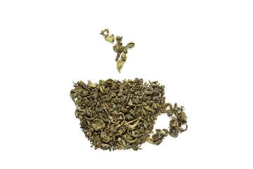 Green tea leaves on white background.