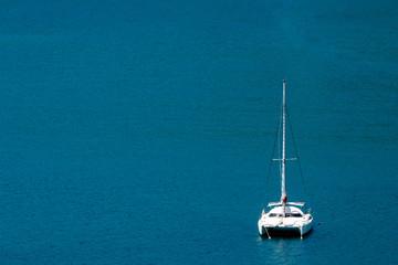 Aerial view of a catamaran sailing in the Andaman Sea, Phuket, Thailand