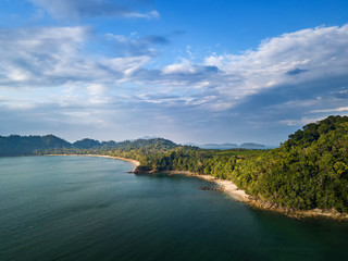 Aerial view of beautiful white sand beach and snorkel point at Koh (Island) Phayam in Andaman sea Ranong, Thailand (Photo from Drone)