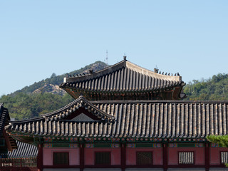 Gyeongbokgung Palace Buildings with Hills in the Background