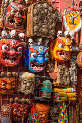 Different kinds of Buddhist masks in the  Barkhor Square in Lhasa, Tibet, China