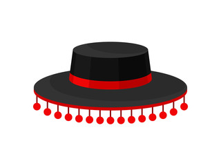 Flat vector icon of black Spanish hat with red ball fringe. Male headdress, part of carnival costume. Fashion theme