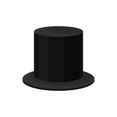 0b1317d6ed9 Flat vector icon of male black top hat. Tall