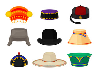 Flat vector set of different national headwear. Headdress for men and women. Fashion theme