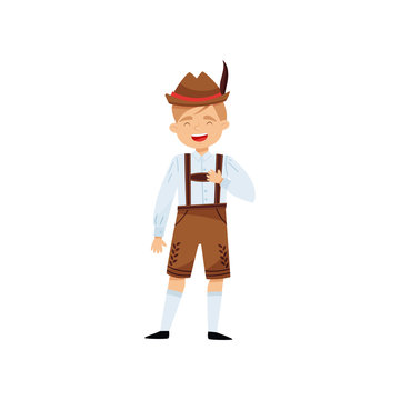 Laughing boy in national Bavarian costume. Kid in shirt, traditional lederhosen and hat with feather. Flat vector design