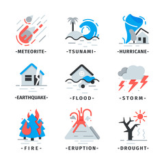 Flat vector set of natural disaster icons. Falling meteorite, hurricane, volcano eruption. Dangerous catastrophes