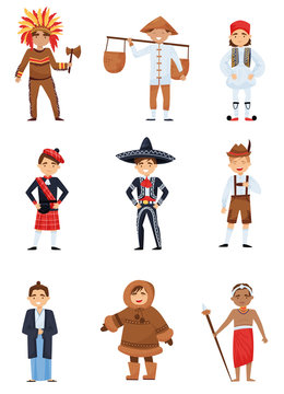 Flat vector set of boys in national costumes of different countries. Smiling kids in various traditional clothes