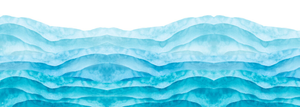 Watercolor line of blue paint, splash, smear, blot, abstraction. Used for a variety of design and decoration. Strokes of paint, lines, splash. Horizontal line,background. Blue sea, Hill, fog mountain
