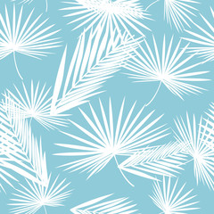 Vector seamless pattern with and tropical leaves. Exotic botanical background design for cosmetics, spa, textile, hawaiian shirt. Best as wrapping paper, wallpaper