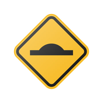 yellow speed bump ahead sign