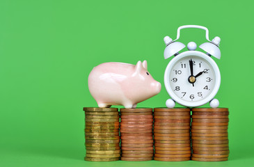 The small pink piggy bank with pile of coins and white alarm clock on green background. Time to save money concept.