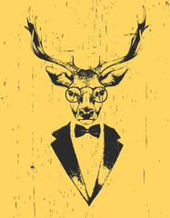 Portrait of Deer in suit. Hand drawn illustration. Vector