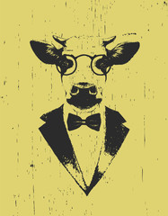 Portrait of Cow in suit. Hand drawn illustration. Vector