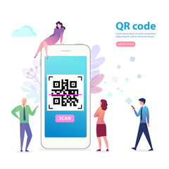 phone with QR code and characters. Flat vector cartoon illustration for web sites, banners. Location track app on touch screen smartphone
