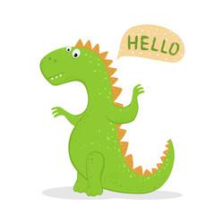 Cute Green Dinosaur Says Hello