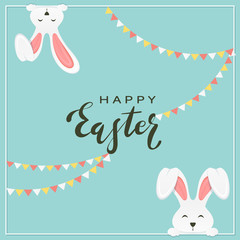 Easter Rabbits with Pennants on Blue Background