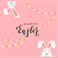 Easter Rabbits with Pennants on Pink Background