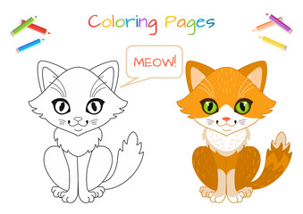 Funny little cat. Coloring book. Educational game for children. Cartoon vector illustration