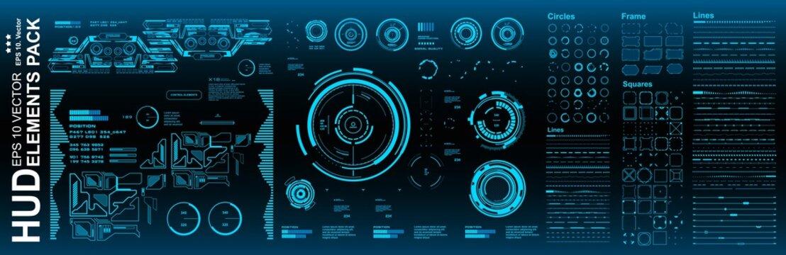 Dashboard blue display virtual reality technology screen. HUD futuristic user interface, target. HUD elements mega pack set.
