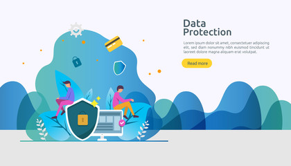 Safety and confidential data protection. VPN internet network security. Traffic encryption personal privacy concept with people character. web landing page, banner, presentation, social, print media