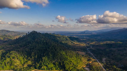 Top view of Thai valley. Arial view of top hills trees