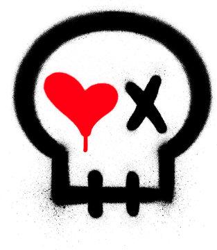 graffiti passionate skull icon sprayed over white