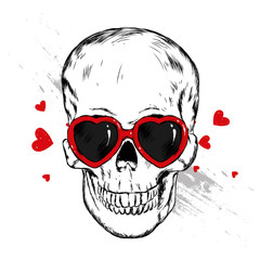 Poster Crâne aquarelle Skull with glasses in the shape of a heart. Vector illustration. Love, Valentine's Day. - Vector
