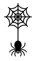 クモの巣からぶら下がるクモ