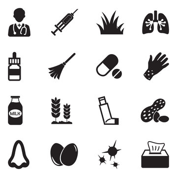 Allergies Icons. Black Flat Design. Vector Illustration.