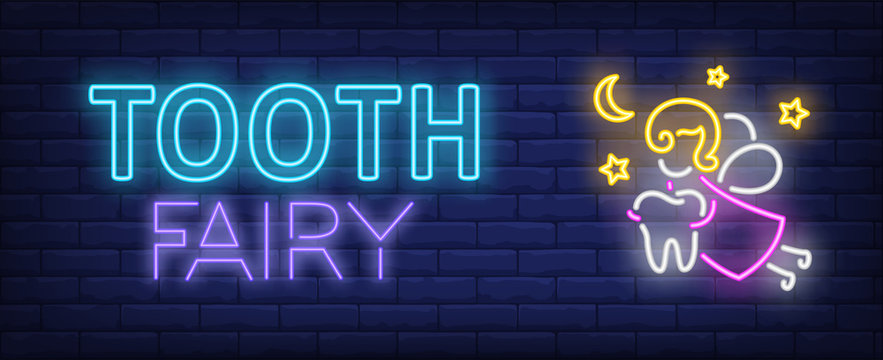 Tooth fairy neon text
