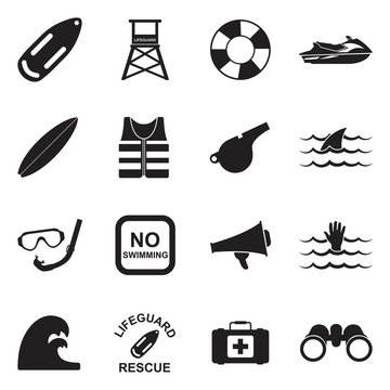 Beach Lifeguard Icons. Black Flat Design. Vector Illustration.