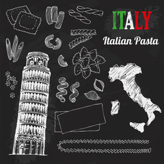 Italy set. Food collection of hand drawn italian flag, map, pasta, Tower of Pisa, Italia lettering set